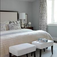 Sarah Richardson Design - bedrooms - brown, gray, blue, white, ottomans, cream, upholstered, wood, headboard, bed, cream, ivory, blue, bedding, blue, gray, white, silk, drapes, sarah richardson bedroom, sarah richardson bedrooms,