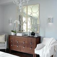 Sarah Richardson Design - bedrooms - blue, gray, brown, dresser, gold, circles, mirrors, white, chairs, lucite, acrylic, chandelier, silver, modern, sconces, gray blue walls, gray walls, gray paint, gray paint colors, Arteriors Nikita Iron Mirror in Gold Leaf,