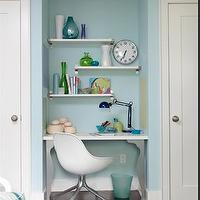 Sarah Richardson Design - boy's rooms - ikea desk, ikea desk base, boys desk, kids desk, kids desk ideas, shelves over desk, shelves above desk,