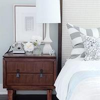 Sarah Richardson Design - bedrooms - brown, gray, blue, white, lamp, wood, nightstand, cream, upholstered, wood, headboard, blue, white, bedding, gray, white, striped, stripe, pillows, gray blue walls, bedroom,