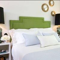 Samantha Pynn - bedrooms - green headboard, green linen headboard, green upholstered headboard, upholstered green headboard, art deco headboard, art deco green headboard, green art deco headboard, green lamps, blue bedding, white and blue bedding, green and blue bedroom,