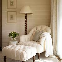 living rooms - ivory, tufted chair, tufted ottoman, brown, caster legs, wood, floor, lamp, white, wood paneling, groove walls,  Tufted goodness