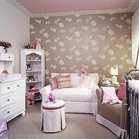 nurseries - pink, brown, wallpaper, white, dresser, white, slip-covered, chair, brown, glider, pink, piping, white, pink, ottoman, black, jenny Lind, crib, pink, white, cotton, drapes, ceiling, nursery,