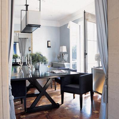 Parquet wood floor contemporary dining room for Light blue dining room