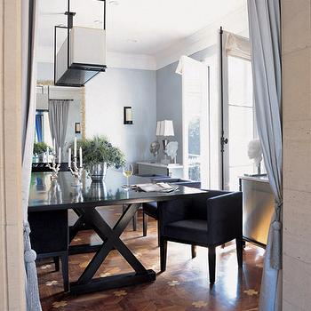dining rooms - parquet floor, parquet wood floors, x base dining table, x dining table, blue walls, blue and black dining room,  Love the chairs