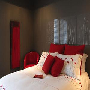 Gray and Red Bedroom, Contemporary, bedroom, Benjamin Moore Chelsea Gray