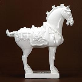 Decor/Accessories - White Ceramic Imperial Horse - horse statue
