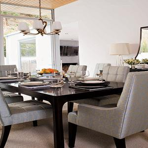 Valerie Pasquiou Interiors - dining rooms - black dining table, lacquered dining table, black lacquered dining table, gray dining chairs,  Chic