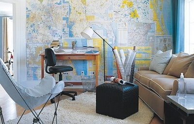 Map Wallpaper Contemporary Den Library Office