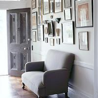 entrances/foyers - sofa, photo gallery, door,  Ellen Silverman    Love the photo gallery in this entrance!