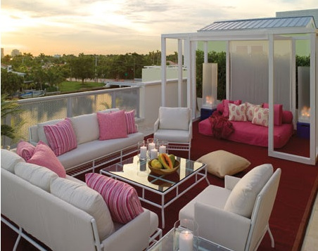 decks/patios - pink gray deck sofas chairs table pink gray deck  Thanks to HB!   Another great outdoor space!  Gray and pink is so pretty! Gray