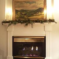 living rooms - garland, candles,  fireplace decorated for Christmas