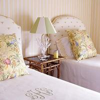 girl's rooms - silk, headboards, twin beds, faux, bamboo, table, silk, yellow, blue, red, floral, pillows, monogrammed, bedding, green, white, lamp shade, yellow, white, striped wallpaper,