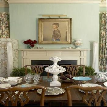 dining rooms - chippendale dining set, chippendale dining chair, chippendale dining table, dining room fireplace, fireplace, blue green walls, gilt frame, beveled frame, chintz curtains, chintz drapes,