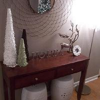 Nuestra Vida Dulce - entrances/foyers - Sherwin Williams Perfect Greige, ribbon trees,  Christmas Decor with Ribbon Trees!