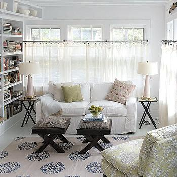 living rooms - x stool, x bench, slipcovered sofa, white slipcovered sofa, pink lamps, x end tables, x base end tables, x base stool, x base bench, madeline weinrib rug, mandala rug, cafe curtains, sheer cafe curtains, sheer curtains, , Madeline Weinrib Atelier Beige & Blue Mandala Rug,