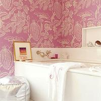 Amanda Nisbet Design - bathrooms - pink wallpaper, pink bathroom wallpaper, silver pouf, monogrammed towels, bathroom poufs,  Chic hot pink bathroom