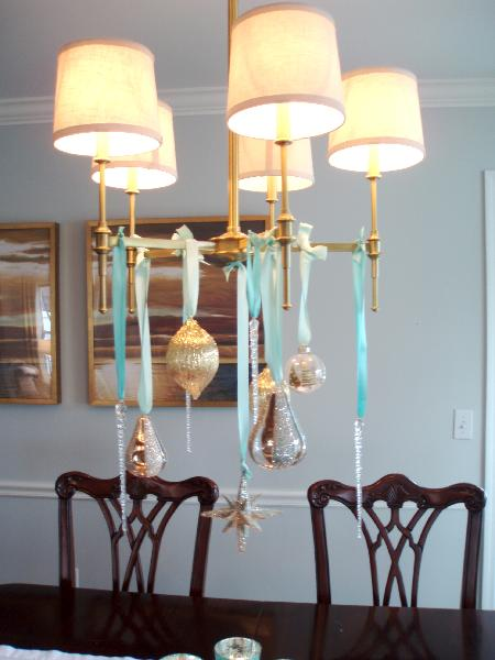 Teresa Meyer Interiors - dining rooms - Bryant Chandelier, chippendale chairs, chippendale dining chairs, chippendale dining room chairs, christmas chandelier, ornaments on chandelier, chandelier ornaments, chair rail, dining room chair rail,