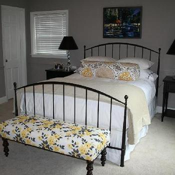 bedrooms - black yellow gray bedroom, yellow and black bedroom, yellow and gray bedroom, yellow and black bench, upholstered bench, black bed, metal bed, gray walls, valley forge tan, black nightstands, Rubie Green Marilyn Fabric,