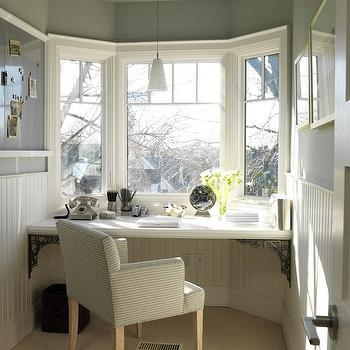 Sarah Richardson Design - dens/libraries/offices - floating desk, beadboard walls, beadboard trim, office beadboard, blue gray walls.,  Love