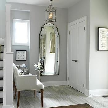 Sarah Richardson Design - entrances/foyers - gray settee, gray walls, paint color, entrance, foyer, gray walls, gray paint, gray paint colors, silver gray walls, silver gray paint colors, foyer mirror, foyer bench, foyer lantern, foyer, Stella Floor Mirror, Round Edwardian Entry Lantern,
