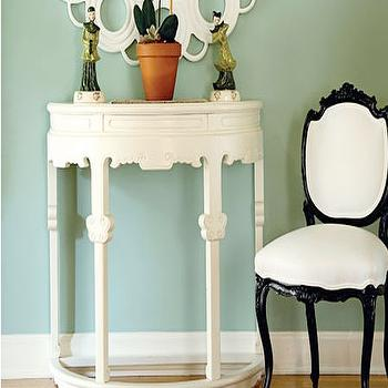 Woodson & Rummerfield - entrances/foyers - white table, demi lune table, demilune table, white demilune table, white demi lune table, demilune foyer table, white demilune foyer table, half moon table, half moon console table, black and white chair,