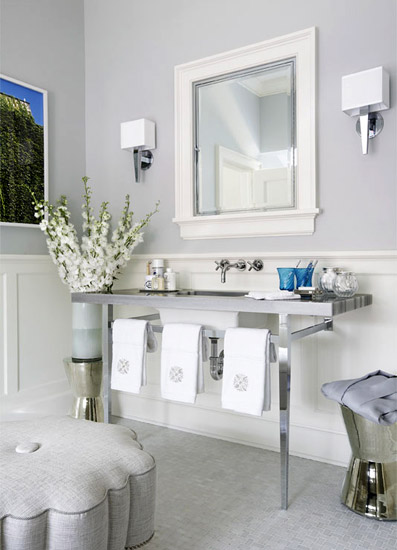 Bathroom Decor With Grey Walls : Bathroom wainscoting transitional jennifer