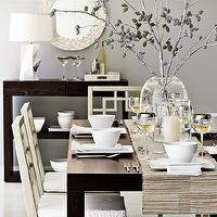 dining rooms - gray, blue, brown, white, capiz, pearl, mirror, espresso, stained, console, table, Parson, West Elm, dining table, West Elm, dining chairs, white, lamp, blue gray walls, paint color, dining room,