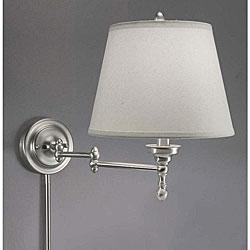 Lighting - Aztec Lighting Swing Arm White Shade Plug-in Lamp from Overstock.com - sconce
