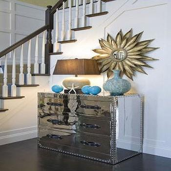Willey Design - entrances/foyers - mirrored chest, gold sunflower mirror,  Love this space!  We have this mirror too!  We moved it from the dining