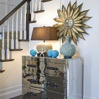 Willey Design - entrances/foyers - turquoise, blue, bronze, sunburst, mirror, mirrored chest, lamps, brown, silk, shade, beachy, blue, vases, baluster, espresso, stained, floors, colors,