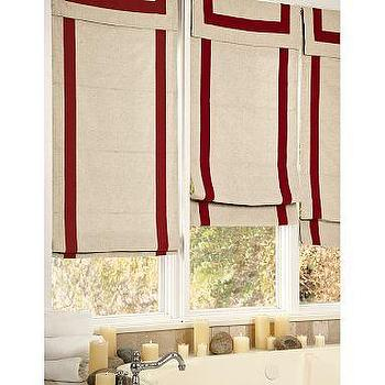 Window Treatments - Ribbon-Border Roman Shade | Pottery Barn - roman shades
