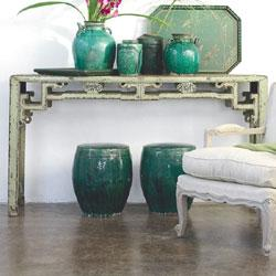 Tables - Treasured Sage Chinese Console-Wisteria - console table