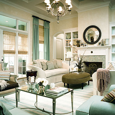 My Home Ideas - living rooms - French Mirrored Coffee Table, gray, green, oval, velvet, ottoman, white, sofas, black, mirror, blue, green, glass, tiles, fireplace, chandelier, seafoam, green, silk, drapes, bamboo, roman shades, window treatments, blue, white, striped, rug, built-ins, seafoam, green, velvet, chairs,
