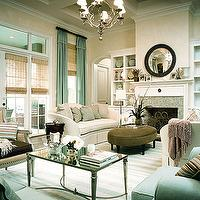 My Home Ideas - living rooms - french coffee table, mirrored top coffee table, oval ottoman, oval velvet ottoman, brown velvet ottoman, French Mirrored Coffee Table,