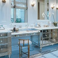 Jessica Lagrange Interiors - bathrooms - mirrored bathroom vanity, mirrored vanity, vanity stool, mirrored washstand, master bathroom,  beautiful,