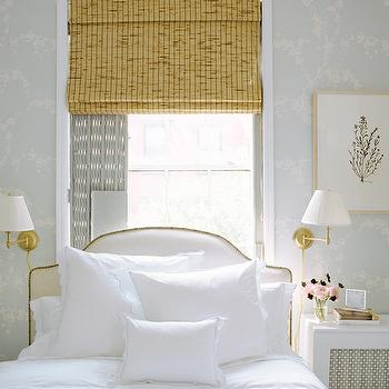 Ashley Whittaker Design - bedrooms - bed in front of window, beds in front of window, headboards in front of window, headboard in front of window, antique brass sconce,