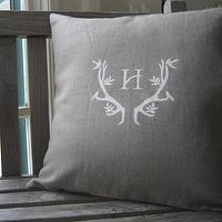 Pillows - Etsy :: WhiteTwig :: White Twig Signature Antler Linen Pillow with Monogram - pillow