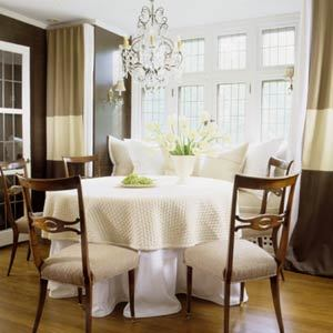 dining rooms - dining room, table cloth, striped drapes, striped curtains, horizontal striped drapes, horizontal striped curtains, built in banquette, dining banquette, window seat banquette, banquette window seat,