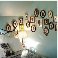 bedrooms - gourd lamp, turquoise walls, tiffany blue, tiffany blue bedroom, silhouette prints,  Fun photo gallery in turquoise blue bedroom