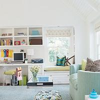 House Beautiful - girl's rooms - brown, blue, green, seafoam, striped, sofa, yellow, pillows, zebra, pillow, built-ins, desk, shelves, white, brown, blue, green, polka dot, bean bags, acrylic, lucite, chair, green cushion, white, nesting tables, play room,
