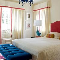 Angie Hranowski - girl's rooms - indigo blue, indigo blue bench, blue velvet bench, blue tufted bench, blue velvet tufted bench, hot pink headboard, valance, valance and curtains, turquoise lamp, indigo blue chandelier, pink and blue bedroom,