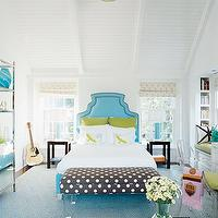 House Beautiful - girl&#039;s rooms - blue, headboard, bed, white, bedding, green, velvet, pillows, brown, white, polka dot, bench, lucite, acrylic, bench, gold, disco light, shelves, shelf, blue, lamps, wood, Parson, end tables, ivory, cream, roman shades, gray, rug, polka dot bench, lucite bench,