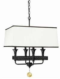 Lighting - World Imports 2334-47 Mahattan 4 Light Iron Pendant - Lighting by Lux - rectangular shade light pendant, bronze finish