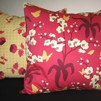 Pillows - Etsy :: nenavon :: Pair of Decorative Designer Pillow Covers-Ginseng Cherry Blossoms-16 inch - yellow and pink pillows