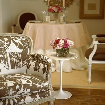 living rooms - chinoiserie chair, bergere chair, brown bergere chair, white and brown bergere chair, saarinen side table, saarinen accent table, Saarinen Side Table,