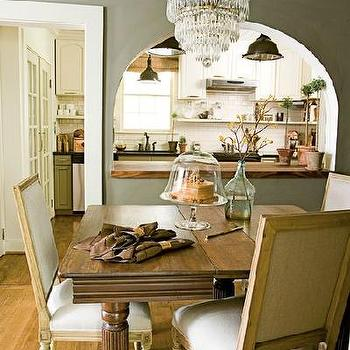 dining rooms - kitchen pass through, gray walls, gray dining room walls, french dining chairs, square back dining chairs,  anne turner carroll
