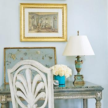 dens/libraries/offices - french desk, painted desk, painted french desk, whitewashed chair, teal lamp, gold leaf frame, beveled frame, gold beveled frame,