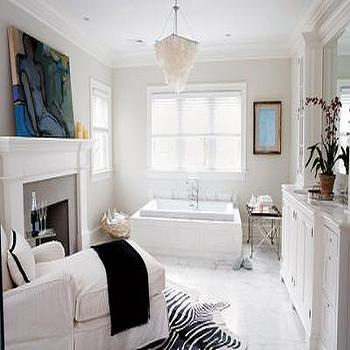 Bathroom Fireplace, Transitional, bathroom, Elle Decor