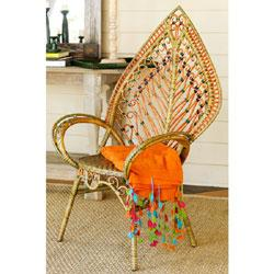 Seating - Woven Rattan Leaf Chair-Wisteria - funky chair